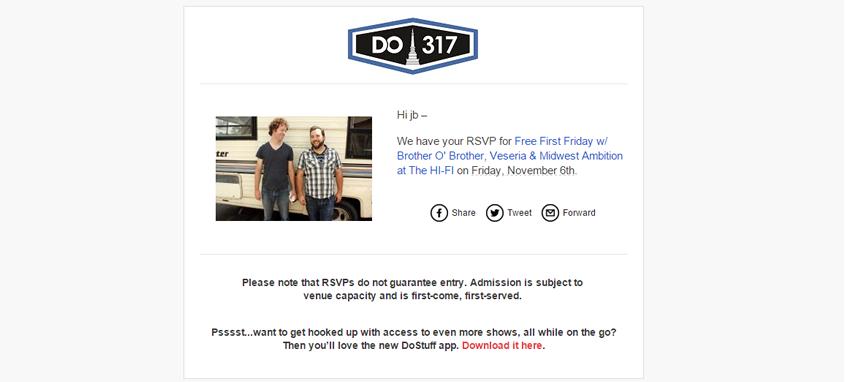 Do317 Email RSVP Confirmation